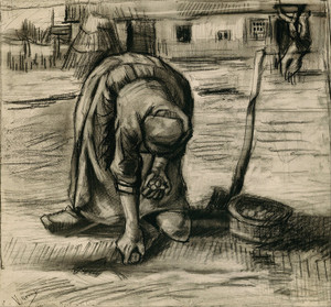 Art Prints of Peasant Woman Planting Potatoes by Vincent Van Gogh