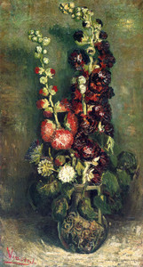 Art Prints of Vase of Hollyhocks, 1886 by Vincent Van Gogh