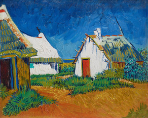 Art Prints of White Cottages at Saintes Maries by Vincent Van Gogh