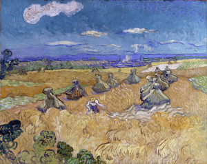 Art Prints of Wheatfields with Reaper, Auvers by Vincent Van Gogh