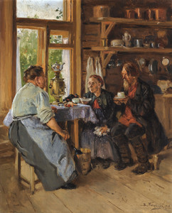 Art Prints of Visiting the Cook by Vladimir Egorovich Makovsky