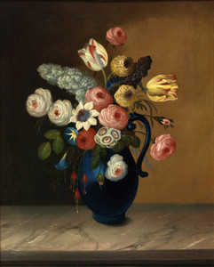 Art Prints of Still Life, Flowers in a Blue Jug by W. B. Gould