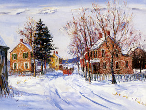 Art Prints of Winter Village by Walter Baum