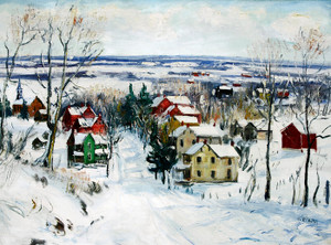 Art Prints of Village in Snow by Walter Baum