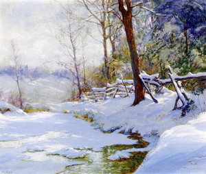Art Prints of Winter Landscape with a Fence by Walter Launt Palmer