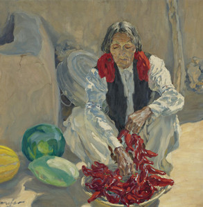 Art Prints of Stringing Chili Peppers by Walter Ufer