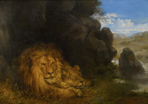 Art Prints of Two Lions in a Cave by Wilhelm Kuhnert