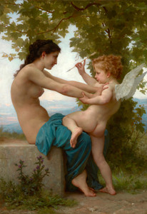 Art Prints of A Young Girl Defending Herself Against Eros by William Bouguereau