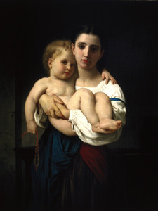Art Prints of The Elder Sister, Reduction by William Bouguereau