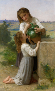 Art Prints of At the Fountain by William Bouguereau