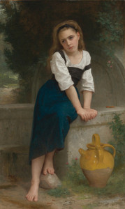 Art Prints of Orphan by the Fountain by William Bouguereau