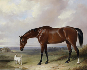 Art Prints of A Bay Hunter and a Terrier in a Landscape by William Barraud