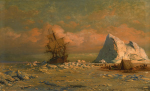 Art Prints of Shipping Vessel with Ice Floes and Figures by William Bradford