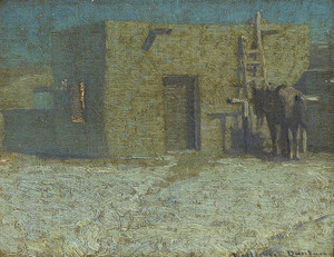 Art Prints of Pack Mule at a Pueblo by William Herbert Dunton