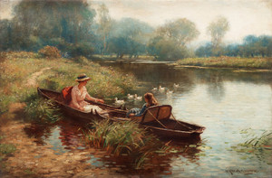 Art Prints of Boating on the River or Backwater on the Ouse by William Kay Blacklock