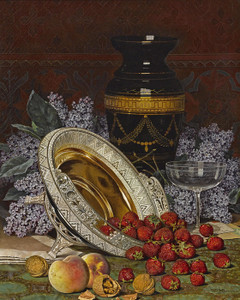 Art Prints of Still Life with Strawberries and Lilacs by William Mason Brown