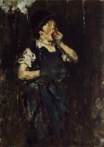 Art Prints of The Apprentice boy with Apple by William Merritt Chase