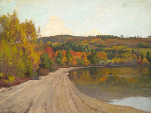 Art Prints of Reflections Along a Lakes Edge by William Wendt