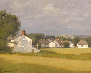 Art Prints of Village with a Church Spire in the Distance by William Wendt