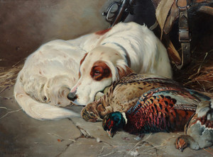 Art Prints of After the Shoot, an English Setter with Game by William Woodhouse