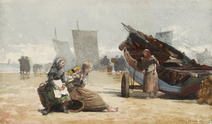 Art Prints of Beach Scene Cullercoats by Winslow Homer
