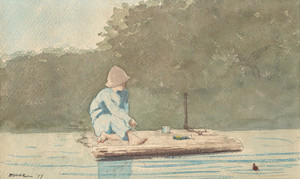 Art Prints of Boy on a Raft by Winslow Homer