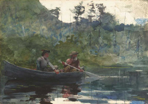 Art prints of Canoeing in the Adirondacks by Winslow Homer