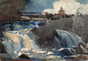 Art Prints of Casting in the falls by Winslow Homer