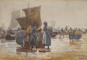 Art Prints of Fisherfolk at the Beach at Cullercoats by Winslow Homer
