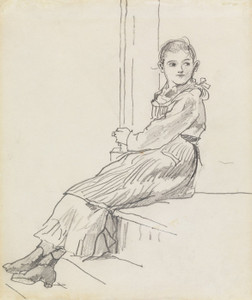 Art Prints of Girl Seated on a Porch Step by Winslow Homer