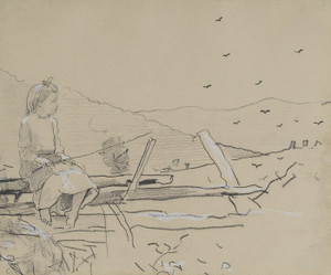 Art Prints of Girl Seated on a Rail Fence by Winslow Homer