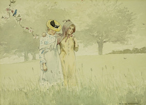 Art Prints of Girls Strolling in an Orchard by Winslow Homer