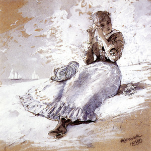 Art Prints of Girl with Shell at Her Ear by Winslow Homer
