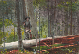 Art Prints of Hunter in the Adirondacks by Winslow Homer