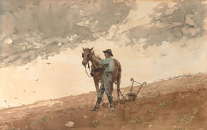 Art Prints of Man with Plow Horse by Winslow Homer