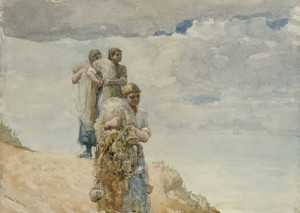 Art Prints of On the Cliff Cullercoats by Winslow Homer