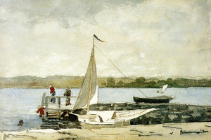 Art Prints of Sloop at Wharf Gloucester by Winslow Homer