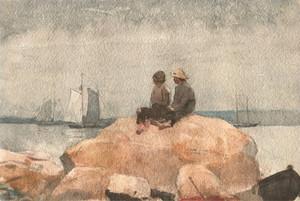Art Prints of Two Boys Watching Schooners by Winslow Homer