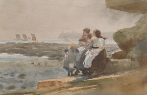 Art Prints of Under the Cliffs, Cullercoats by Winslow Homer