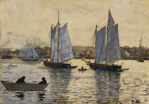 Art Prints of Two Schooners Gloucester by Winslow Homer