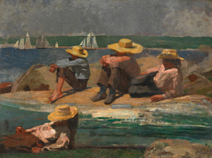 Art Prints of Children on the Beach Watching Boats by Winslow Homer