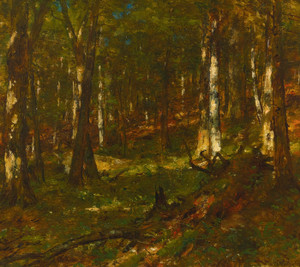 Art Prints of Sunlit Woodland Scene by Worthington Whittredge