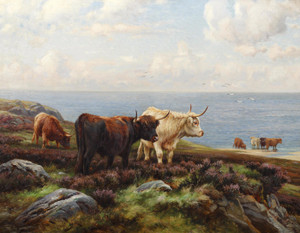 Art Prints of Highland Cattle on the Coast by Wright Barker
