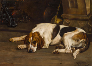 Art Prints of A Foxhound by the Hearth by Wright Barker