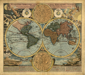Art Prints of World Map, 1664 by an Unknown Artist
