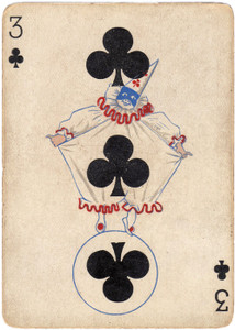 Art Prints of Playing Card, 3 of Clubs, Vintage Game Pieces & Playing Cards