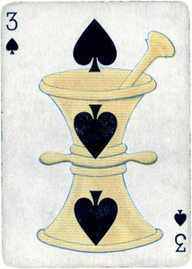 Art Prints of Playing Card, 3 of Spades, Vintage Game Pieces & Playing Cards