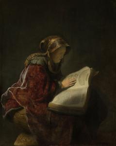Art prints of Old Lady Reading by Rembrandt van Rijn