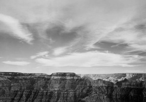 Art prints of Canyon edge, low horizon, clouded sky, Grand Canyon National Park, Arizona by Ansel Adams