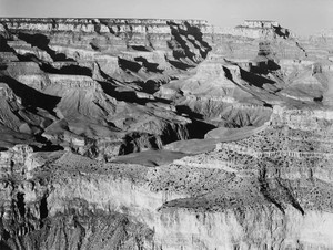 Art prints of Canyon with Ravine Winding through Center, High Horizon, Grand Canyon National Park, Arizona by Ansel Adams